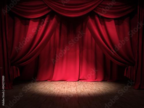 Zdjęcie XXL Show Stage Red Curtains Spotlight