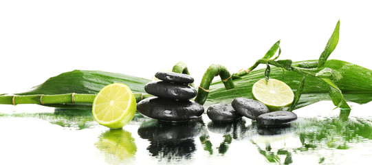 Beautiful spa composition on white background, close up