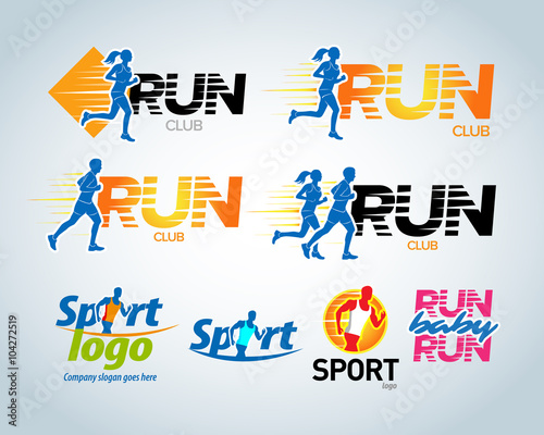 Sport running club vector labels and emblems, logotypes, badges. Apparel, t-shirt design concepts. Athletic silhouette training, athlete run illustration. Isolated vector illustration. - 104272519