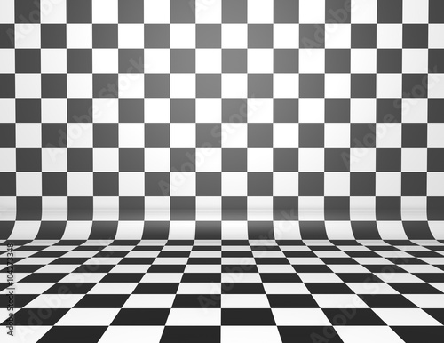 Obraz na plátně Black and white checkerboard background with copy space.