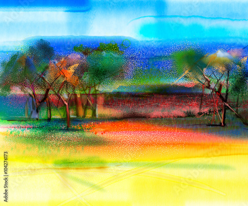 Staande foto Meloen Abstract colorful landscape painting. Oil painting mix watercolor technic on paper. Semi- abstract image of tree and field in yellow and red with blue sky. Spring season nature background