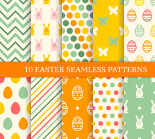 Ten Retro Different Easter Seamless Patterns.