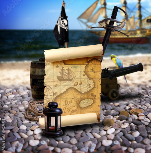 Photo  Pirate landscape on the beach