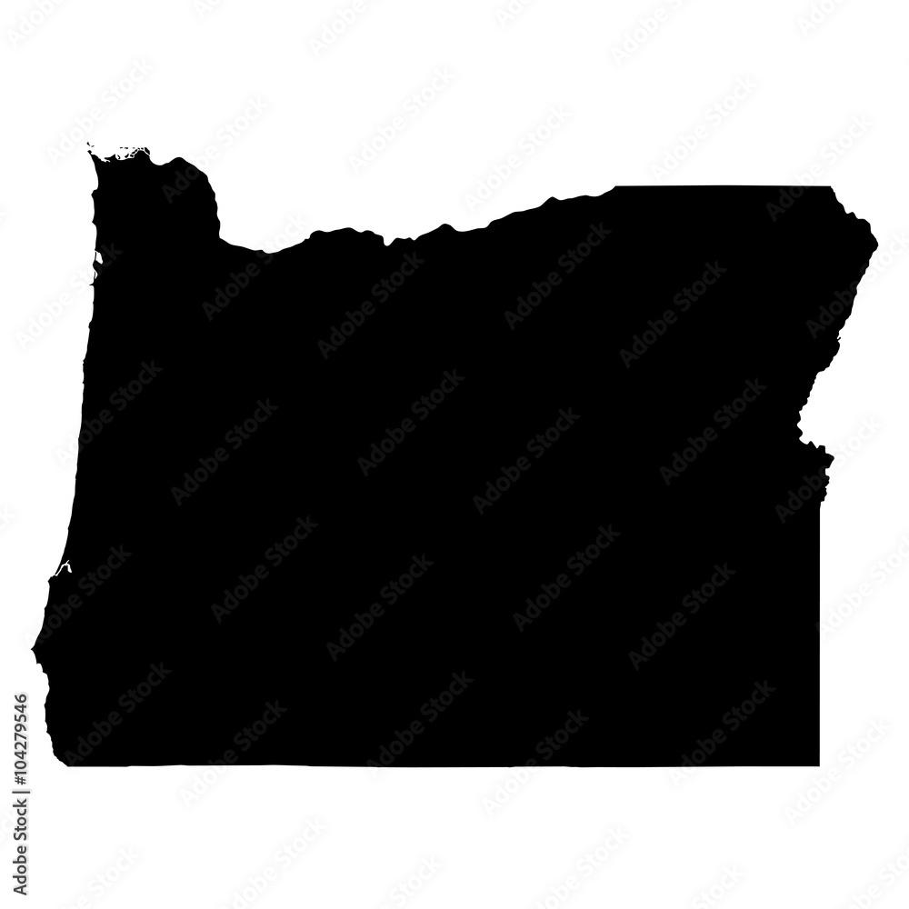 Fototapety, obrazy: Oregon black map on white background vector