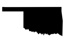 Oklahoma Black Map On White Ba...