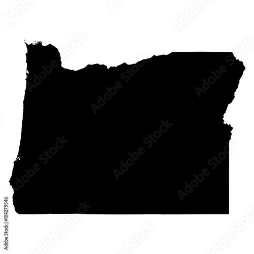 Fototapeta Oregon black map on white background vector obraz