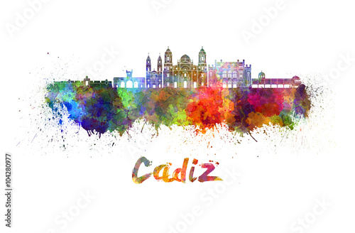 Cadiz skyline in watercolor
