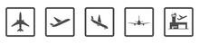 Flughafen - Icon-Set (Grau)