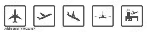 Fotografie, Obraz  Flughafen - Icon-Set (Grau)