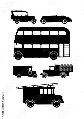 Photo  collection of vintage vehicle silhouettes