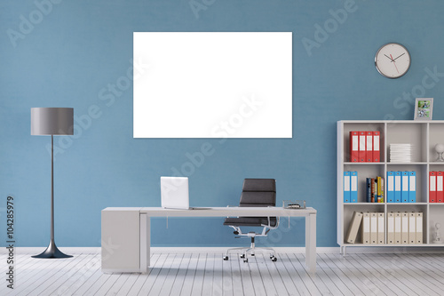 Weisse Leinwand An Wand Im Buro Buy This Stock Illustration And