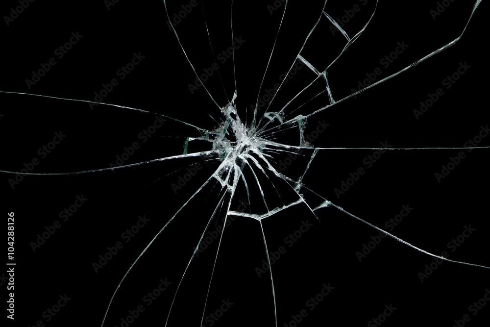 Fototapety, obrazy: Broken glass on black background