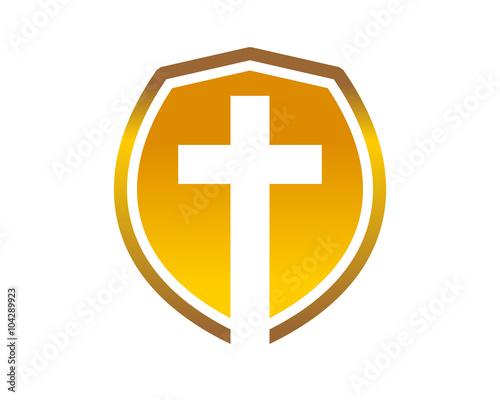 Obraz na plátně Golden Shield Cross