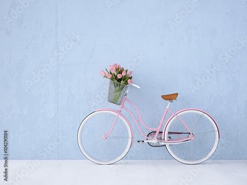 Foto op Plexiglas retro vintage bicycle old and blue wall. 3d rendering