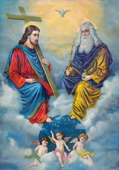 Naklejka Typical catholic image of Holy Trinity printed in Germany from the end of 19. cent.