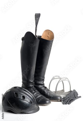 Deurstickers Paardrijden Reiterstiefel und Reitzubehör
