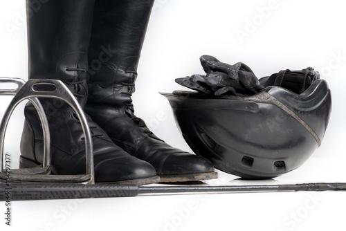 Foto op Plexiglas Paardrijden Reitstiefel und Zubehör