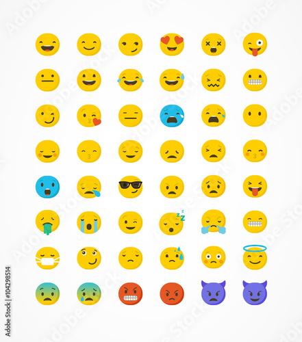 Set of emoticons, emoji isolated on white background, vector illustration