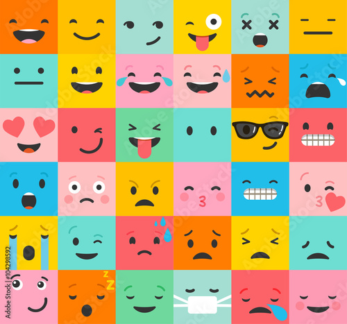 Photo  Set of colorful emoticons, emoji flat backgound pattern