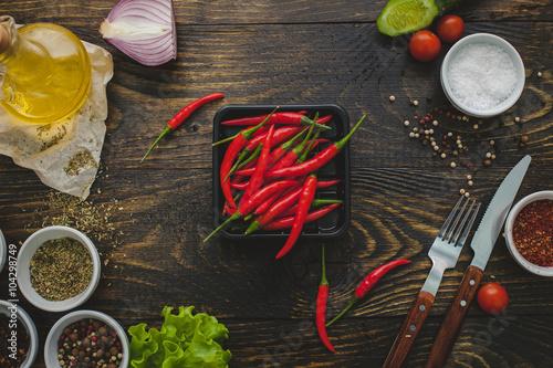 Fototapety, obrazy: wooden table, chilli