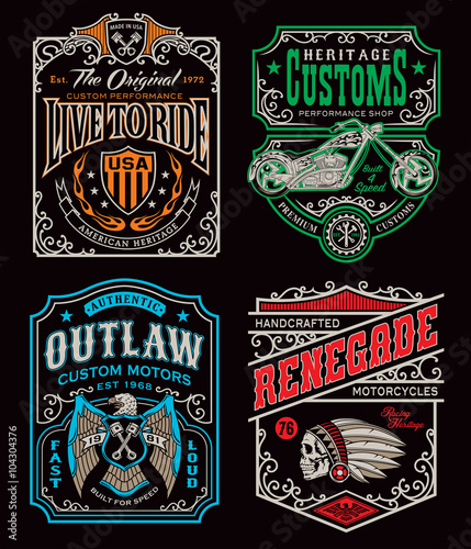 Photo Vintage motorcycle t-shirt graphic set