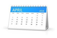 Blue Table Calendar 2016 April