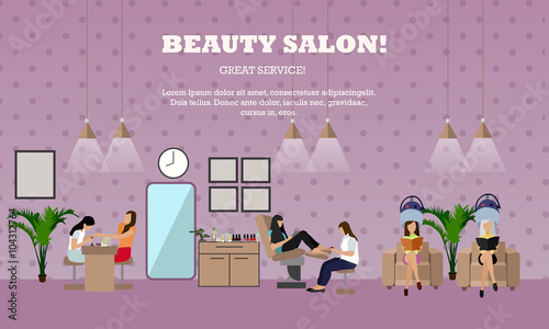 Beauty Salon Interior Vector Concept Banners Women In Manicure And Make Up Design Studio Buy This Stock Vector And Explore Similar Vectors At Adobe Stock Adobe Stock