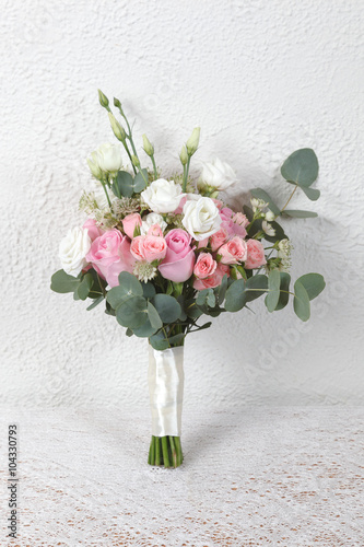 White And Pink Wedding Bouquet Of Roses And Lisianthus Flowers Buy