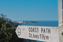 Coastal Path Sign To St Ives With St Ives In The Distance