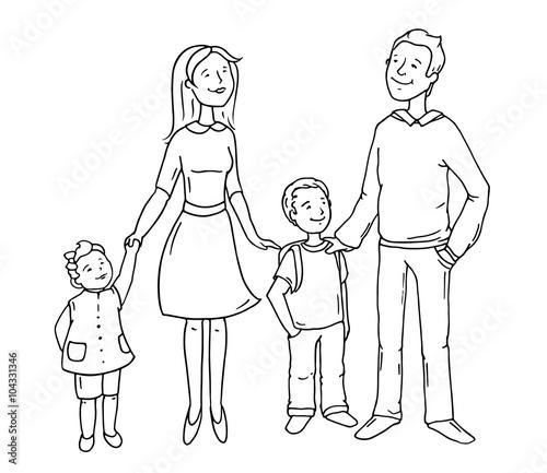 Portrait of four member family posi Stock Illustration