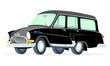 Caricatura GAZ Volga M22 Station Wagon negra vista frontal y lateral