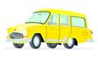 Caricatura GAZ Volga M22 Station Wagon amarilla vista frontal y lateral
