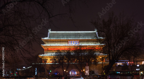 Photo sur Toile Xian Night landscape of Xian ancient Drum Tower at the ancient city w