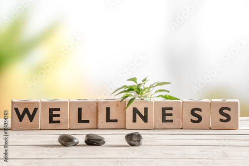 Fotografia  Wellness sign with wooden cubes