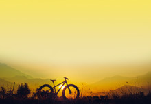 Mountain Bike Silhouette On Beautiful Sunset, Silhouette Fatbike