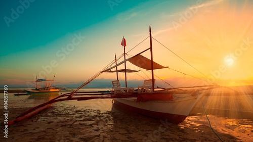 Philippines,  sunset boat Wallpaper Mural