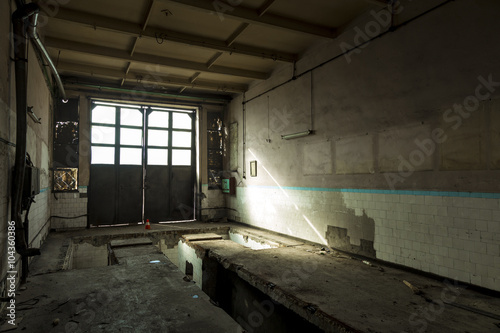 Abandoned room. Renovation needed. Grungy factory