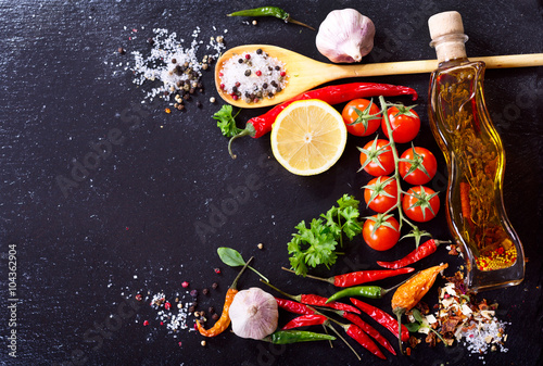 Photo sur Aluminium Cuisine various food ingredients for cooking