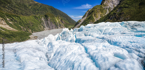 Poster Glaciers Blue ice of Fox Glacier in South Island of New Zealand panorama