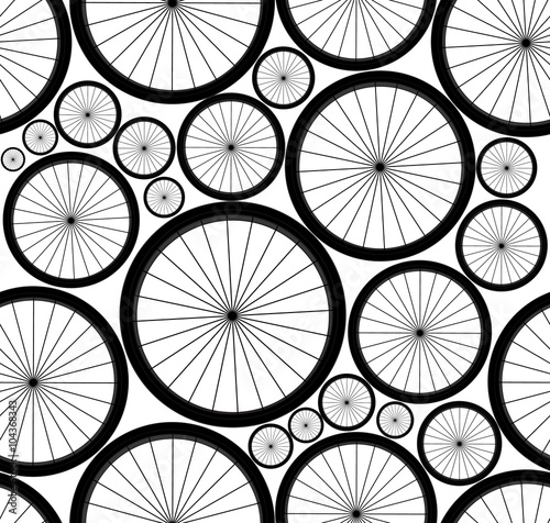 Cotton fabric Cute vector seamless pattern with bike wheels. You can use any color of background