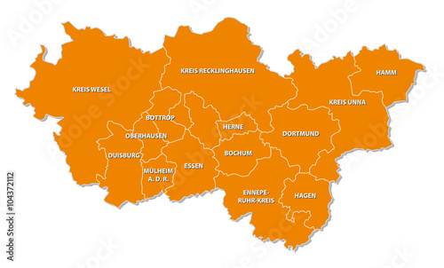 Simple Map Of Germany.Simple Outline Map Of The Ruhr Region In Germany Buy This Stock