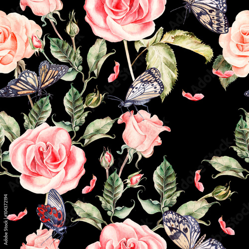 Fototapety, obrazy: Pattern with watercolor realistic rose, peony and butterflies.