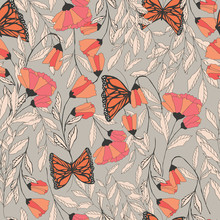 Vector Traditional Seamless Pattern With Monarch Butterflies, Fl