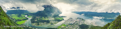 Fotografie, Obraz  Panoramic view on Andalsnes City, Mountain Landscape and Fjord