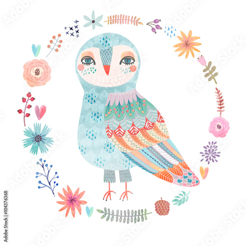 Photo Stands Owls cartoon Watercolor floral background with a beautiful owl
