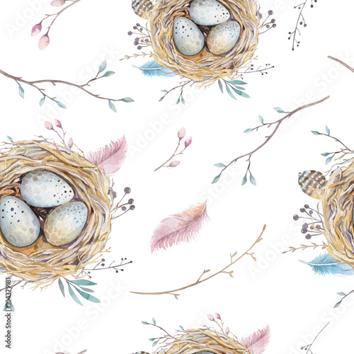 Cotton fabric Watercolor natural floral vintage seamless pattern with nests,wr