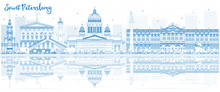 Outline Saint Petersburg Skyline With Blue Buildings And Reflections