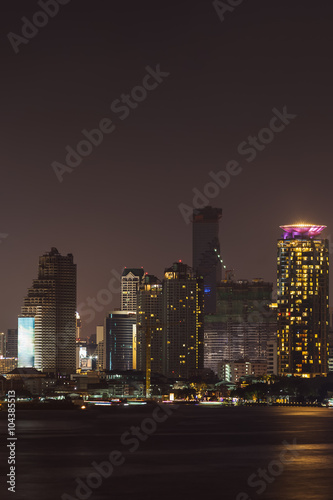 Canvas Prints New York Bangkok cityscape river side at Night time,Thailand.