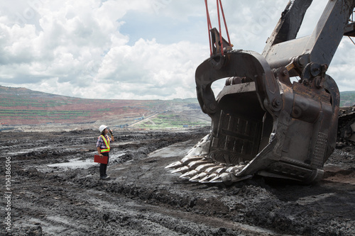 Fototapeta Mining Engineer in Lignite Mine