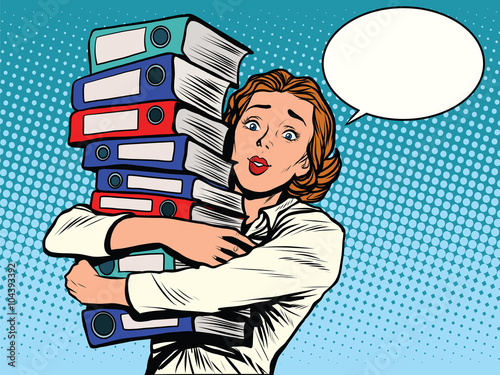 Fotografía  The girl accountant annual reports